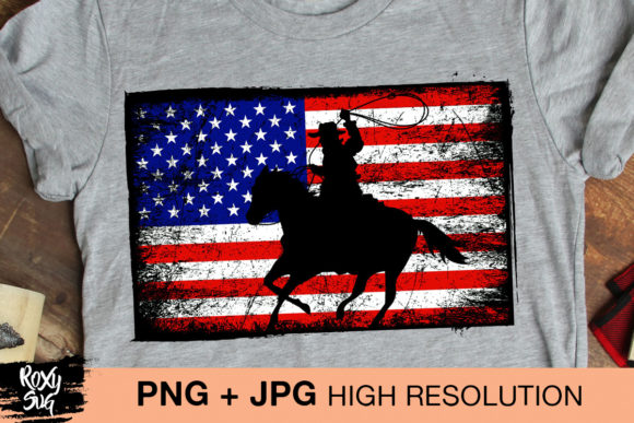 Print on Demand: Cowboy Sublimation PNG, USA Flag Png Graphic Crafts By roxysvg26