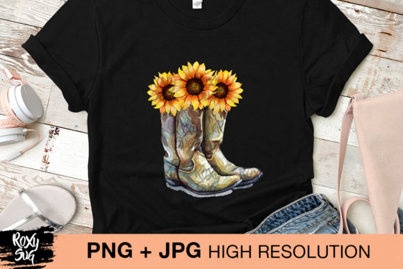 Download Free Cowgirl Boots With Sunflowers Grafico Por Roxysvg26 Creative for Cricut Explore, Silhouette and other cutting machines.