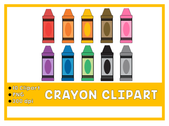 Crayon ClipArt Graphic Add-ons By Happy Kiddos