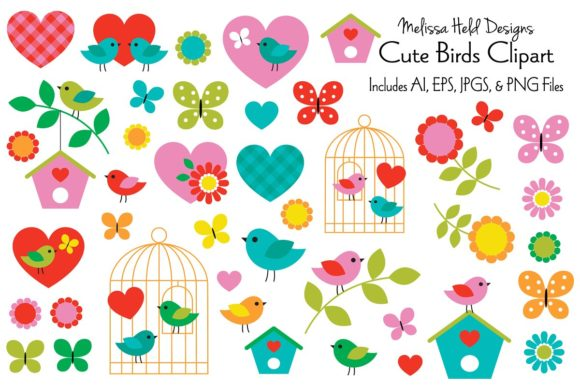 Download Free Cute Birds Clipart Graphic By Melissa Held Designs Creative for Cricut Explore, Silhouette and other cutting machines.