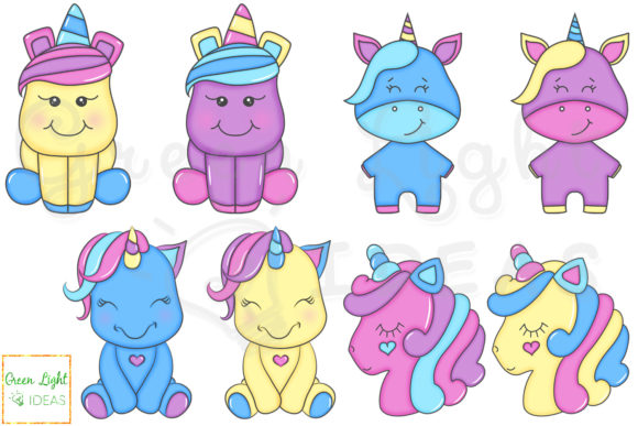 Download Free Cute Unicorns Clipart Doodle Unicorns Graphic By for Cricut Explore, Silhouette and other cutting machines.