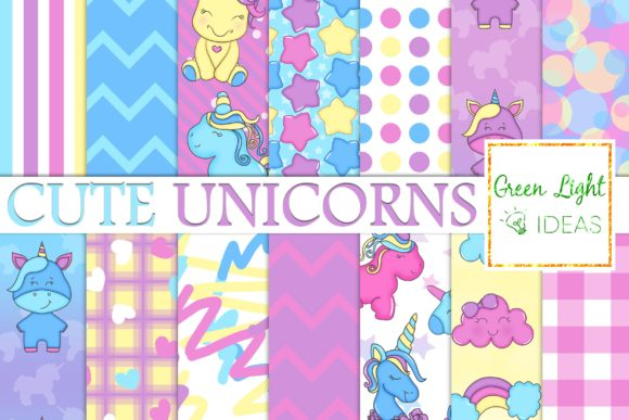 Cute Unicorns Digital Papers Graphic Backgrounds By GreenLightIdeas