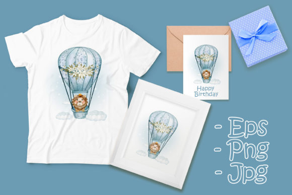 Print on Demand: Cute Lion King Flying with Air Ballon Graphic Illustrations By OrchidArt