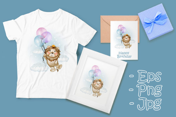 Print on Demand: Cute Lion King Flying with Balloons Graphic Illustrations By OrchidArt