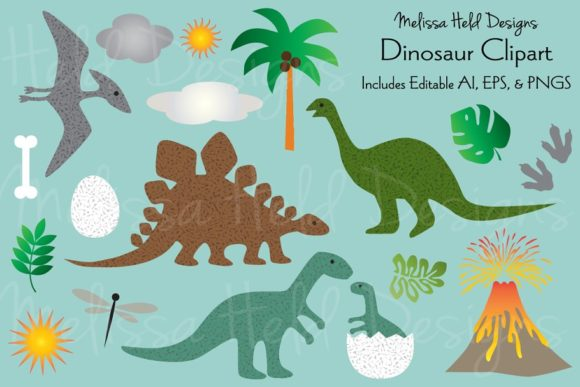 Download Free Dinosaur Clipart Graphic By Melissa Held Designs Creative Fabrica for Cricut Explore, Silhouette and other cutting machines.