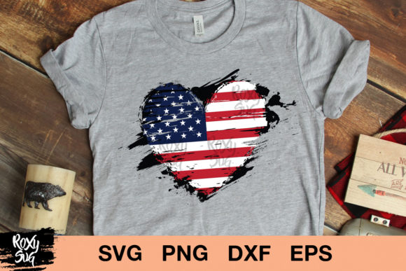 Print on Demand: Distressed American Flag Gráfico Crafts Por roxysvg26