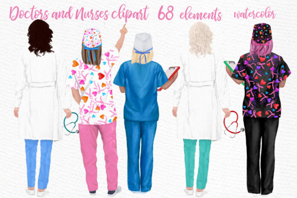 Doctors, Nurses, Scrubs Clipart Graphic Illustrations By LeCoqDesign - Image 1