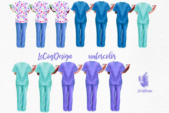 Download Free Doctors Nurses Scrubs Clipart Graphic By Lecoqdesign for Cricut Explore, Silhouette and other cutting machines.