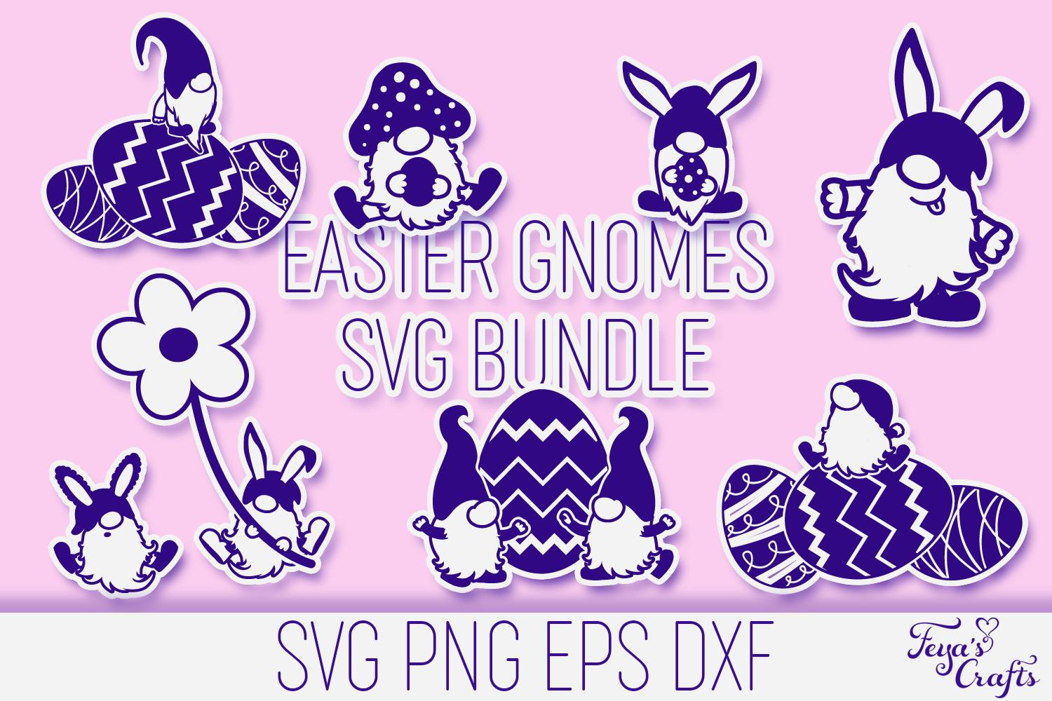 Download Free Easter Gnomes Bundle Graphic By Anastasia Feya Creative Fabrica for Cricut Explore, Silhouette and other cutting machines.