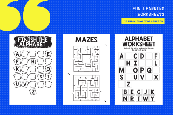 Download Free Fun Activity Learning Sheets X 10 Graphic By Yumbeehomeschool for Cricut Explore, Silhouette and other cutting machines.