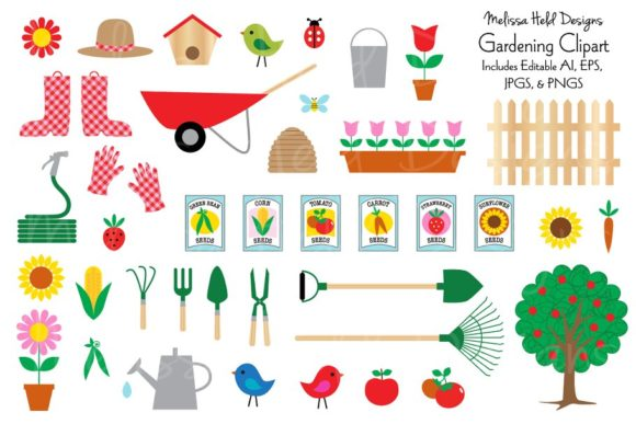 Download Free Gardening Clipart Graphic By Melissa Held Designs Creative Fabrica for Cricut Explore, Silhouette and other cutting machines.