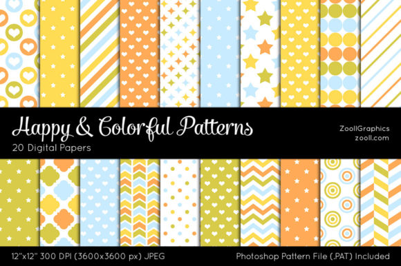 Happy and Colorful Digital Papers Graphic Patterns By ZoollGraphics