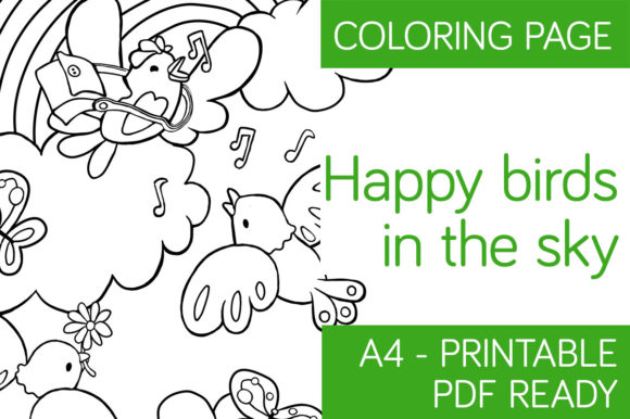 Download Free Happy Birds In The Sky Coloring Page Graphic By Milaski for Cricut Explore, Silhouette and other cutting machines.