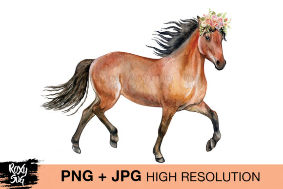 Print on Demand: Horse with Flowers Graphic Crafts By roxysvg26 - Image 1