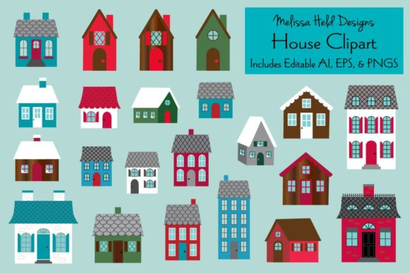 House Clipart Graphic Illustrations By Melissa Held Designs