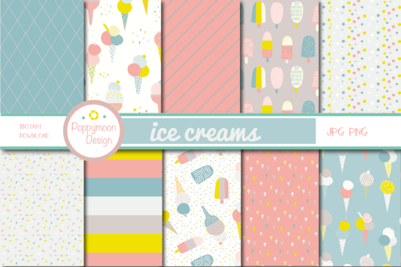 Print on Demand: Ice Cream Paper Grafik Muster von poppymoondesign