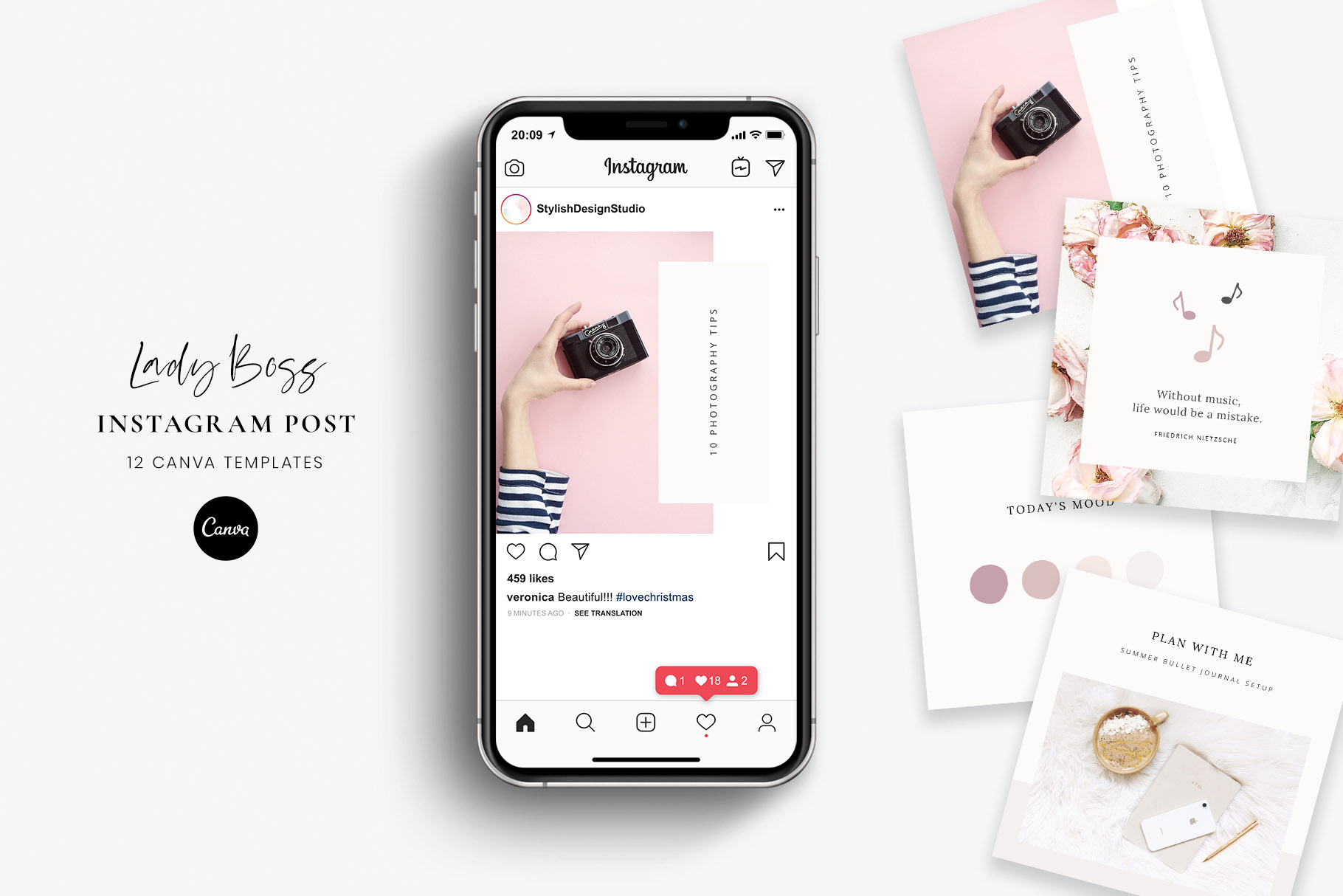 Download Free Instagram Post Canva Templates Lady Boss Graphic By for Cricut Explore, Silhouette and other cutting machines.