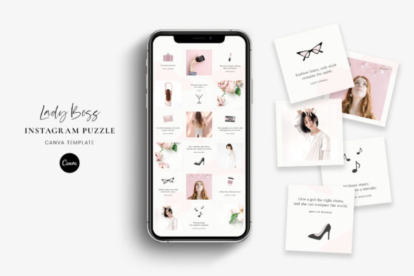 Instagram Puzzle Canva - Lady Boss Graphic Graphic Templates By StylishDesign