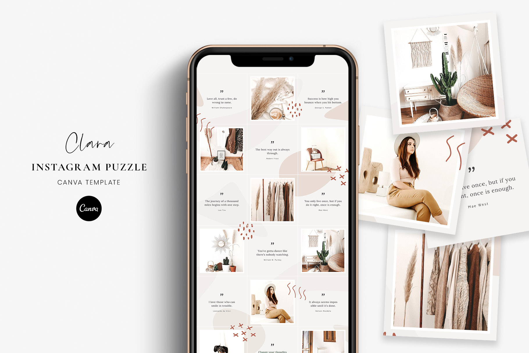 Instagram Puzzle Canva Template Clara Graphic By Stylishdesign