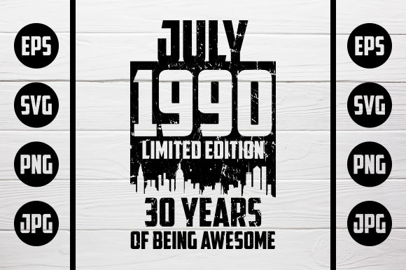 Download Free July 1990 Tshirt Design Graphic By Zaibbb Creative Fabrica for Cricut Explore, Silhouette and other cutting machines.