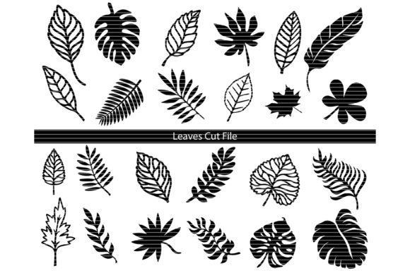 Download Free Leaves Silhouette Clip Art Bundle Grafico Por Meshaarts for Cricut Explore, Silhouette and other cutting machines.
