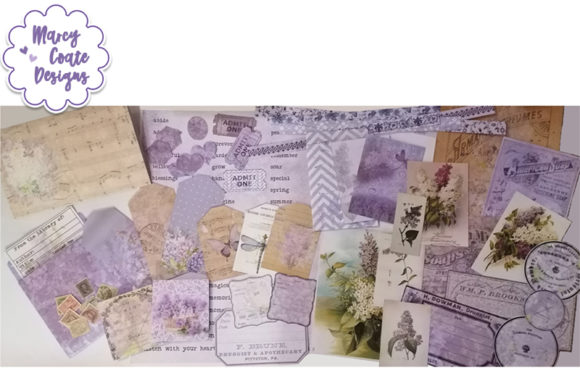 Lilacs Printable Ephemera, Tags, Pockets Graphic Illustrations By MarcyCoateDesigns