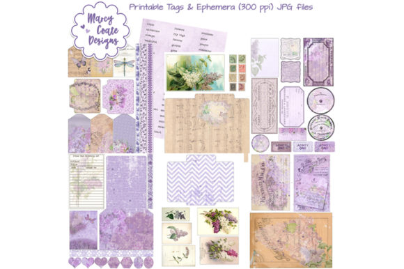 Download Free Lilacs Printable Ephemera Tags Pockets Graphic By Marcycoatedesigns Creative Fabrica for Cricut Explore, Silhouette and other cutting machines.