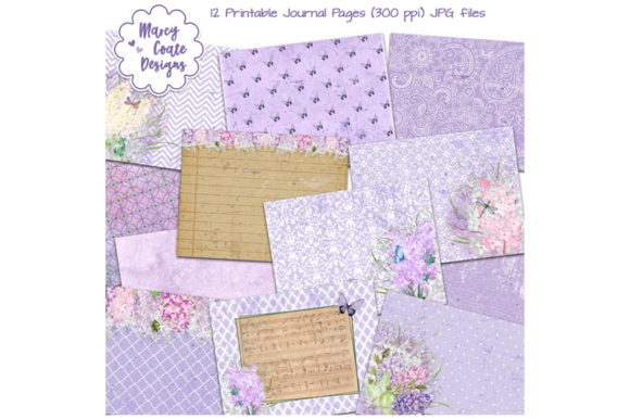 Lilacs Printable Journal Pages Graphic Backgrounds By MarcyCoateDesigns
