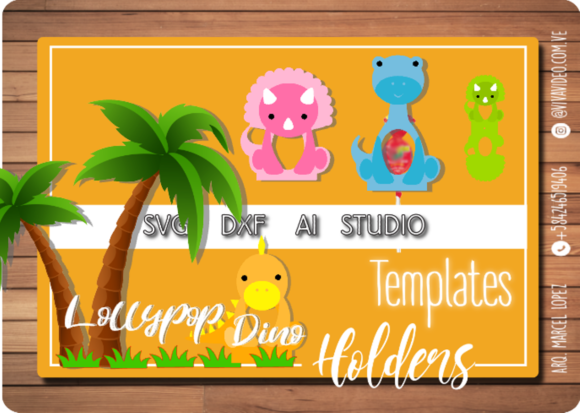 Lollypop Holder Dino Graphic 3D SVG By Marcel de Cisneros