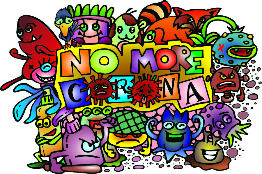 Download Free No More Corona Doodle Graphic By Aripoejianto Creative Fabrica for Cricut Explore, Silhouette and other cutting machines.