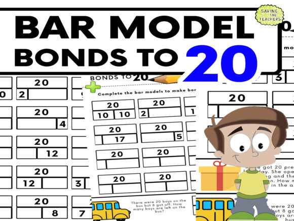 Number Bonds to 20: Bar Model Graphic 1st grade By Saving The Teachers