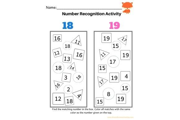 Number Recogntion Graphic PreK By lifeandhomeschooling