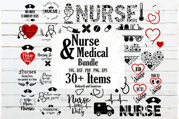 Nurse and Medical Bundle  Gráfico Crafts Por redearth and gumtrees