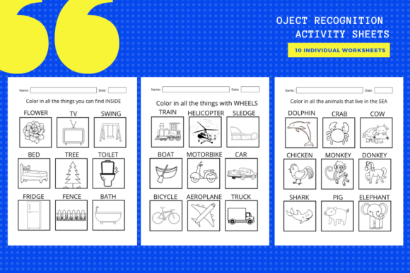 Download Free Object Recognition Activity Worksheets Graphic By for Cricut Explore, Silhouette and other cutting machines.
