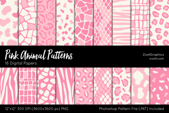 Pink Animal Digital Papers Graphic Patterns By ZoollGraphics