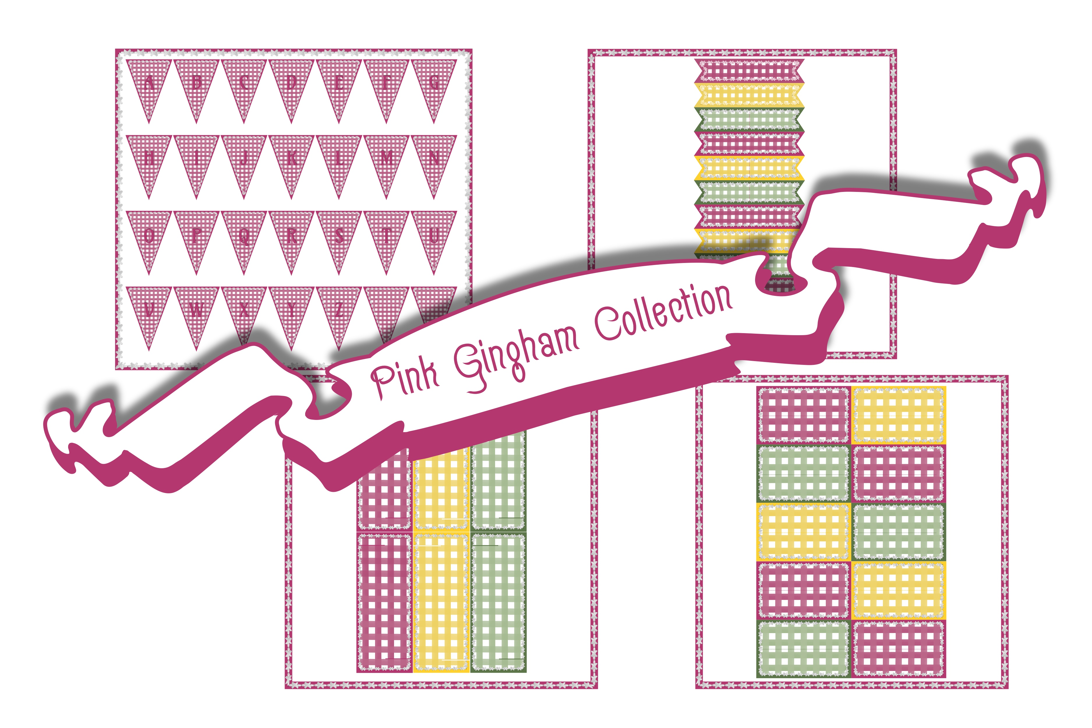 Download Free Pink Gingham Bunting Place Cards Graphic By Emmie Norfolk for Cricut Explore, Silhouette and other cutting machines.