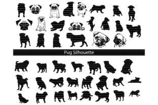Download Free Pug Silhouette Bundle Graphic By Meshaarts Creative Fabrica for Cricut Explore, Silhouette and other cutting machines.