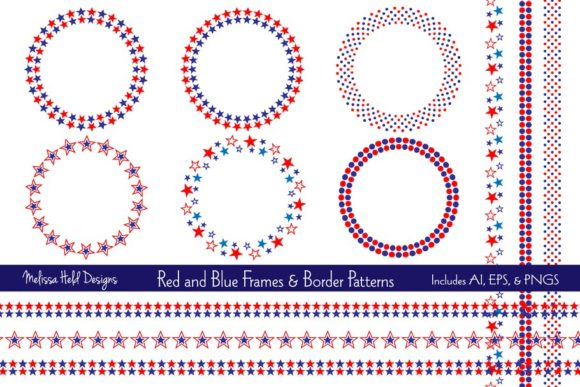 Download Free Red Blue Frames Border Patterns Graphic By Melissa Held for Cricut Explore, Silhouette and other cutting machines.