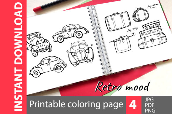Retro - 4 Coloring Pages Graphic Illustrations By NataliMyaStore