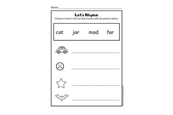 Download Free Rhyming Worksheet Graphic By Lifeandhomeschooling Creative Fabrica SVG Cut Files