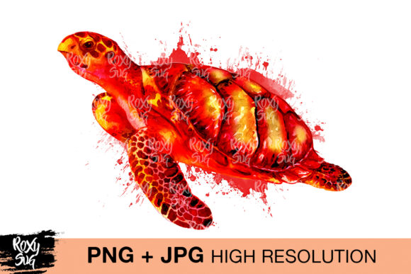 Print on Demand: Sea Turtle Watercolor Sublimation Png Graphic Crafts By roxysvg26