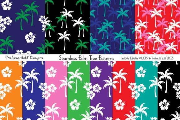 Seamless Palm Tree Patterns Graphic Patterns By Melissa Held Designs