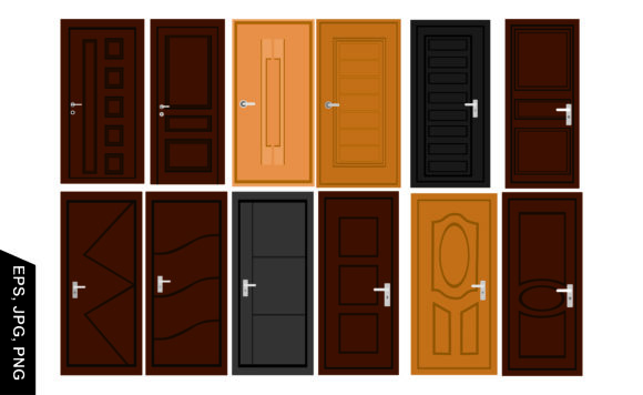 Print on Demand: Set of Simple Vector House Door Graphic Crafts By Arief Sapta Adjie