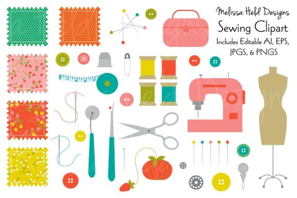 Sewing Clipart Graphic Illustrations By Melissa Held Designs