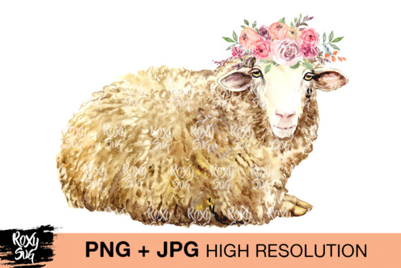 Print on Demand: Sheep with Flower Crown Grafik Plotterdateien von roxysvg26