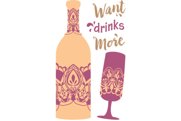 Download Free Simple Purple Design For Bottle Wine Graphic By Stockfloral for Cricut Explore, Silhouette and other cutting machines.