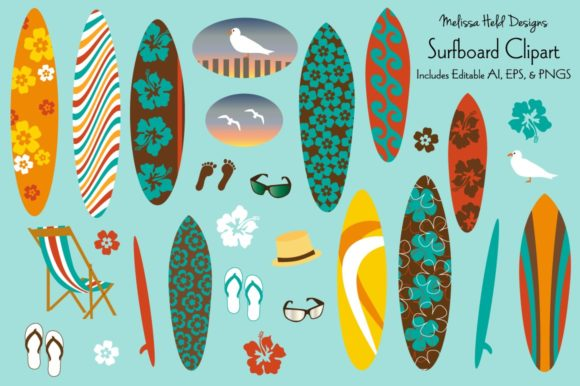 Surfboard Clipart Graphics Graphic Illustrations By Melissa Held Designs