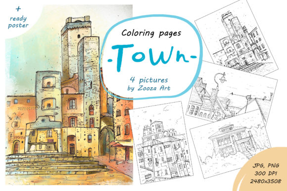 Print on Demand: Town - 4 Coloring Pictures Graphic Coloring Pages & Books Adults By Zooza Art