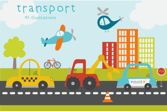Print on Demand: Transport Graphic Illustrations By poppymoondesign