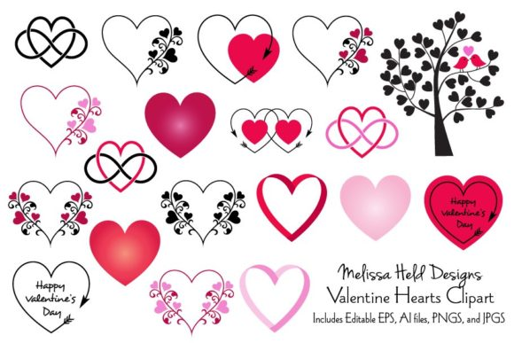 Download Free Valentine Hearts Clipart Graphic By Melissa Held Designs for Cricut Explore, Silhouette and other cutting machines.
